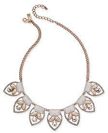 """I.N.C. Rose Gold-Tone Imitation Pearl, Stone & Crystal Statement Necklace, 16-1/2"""" + 3"""" extender, Created for Macy's"""