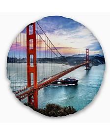 "Designart 'Golden Gate In San Francisco' Sea Bridge Throw Pillow - 16"" Round"