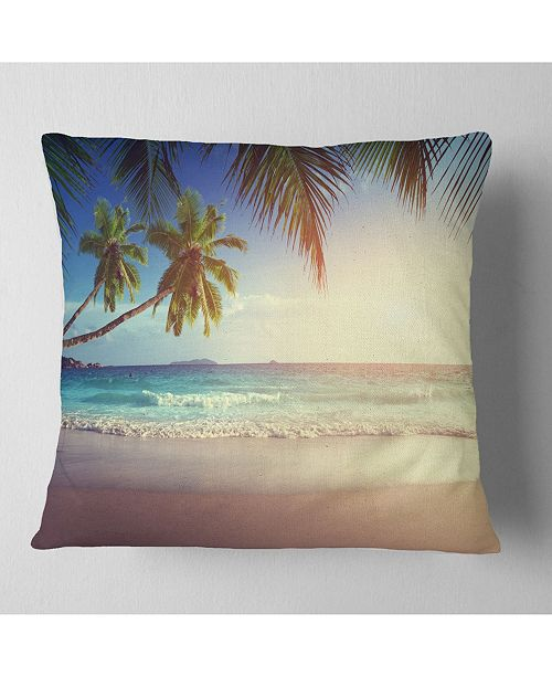 "Design Art Designart 'Typical Sunset On Seychelles Beach' Seascape Throw Pillow - 16"" x 16"""