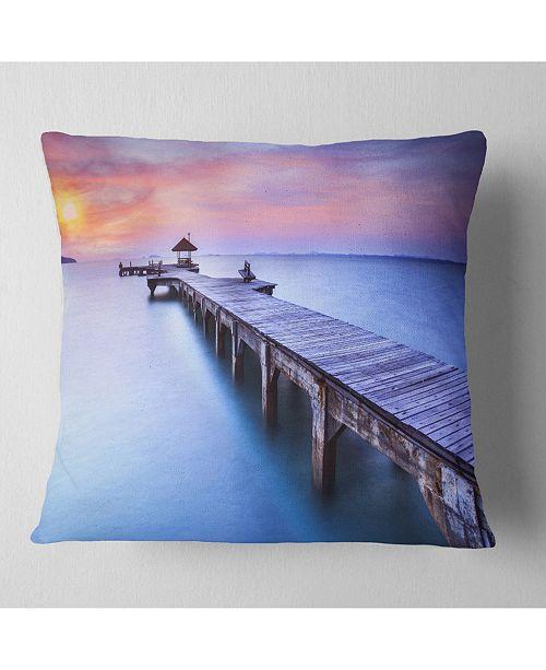 "Design Art Designart 'Blue Wooden Bridge' Seascape Photography Throw Pillow - 16"" x 16"""