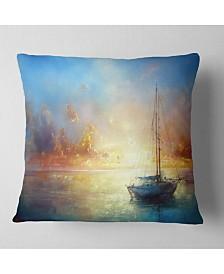 "Designart 'Seascape Pier' Seascape Throw Pillow - 26"" x 26"""