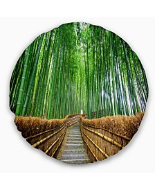 """Designart 'Path To Bamboo Forest' Landscape Photography Throw Pillow - 16"""" Round"""