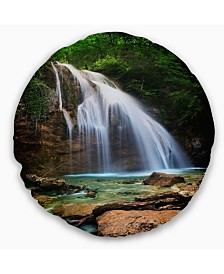 "Designart 'Djur Djur Waterfall' Landscape Photography Throw Pillow - 16"" Round"