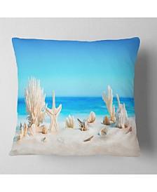"Designart 'Seashells On Tropical Beach' Seashore Photo Throw Pillow - 26"" x 26"""