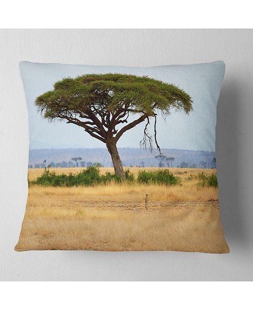 """Design Art Designart 'Acadia Tree and Cheetah In Africa' African Landscape Printed Throw Pillow - 16"""" x 16"""""""