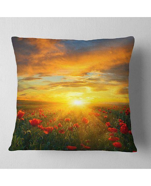 "Design Art Designart 'Bright New Day Over Poppy Fields' Floral Throw Pillow - 16"" x 16"""