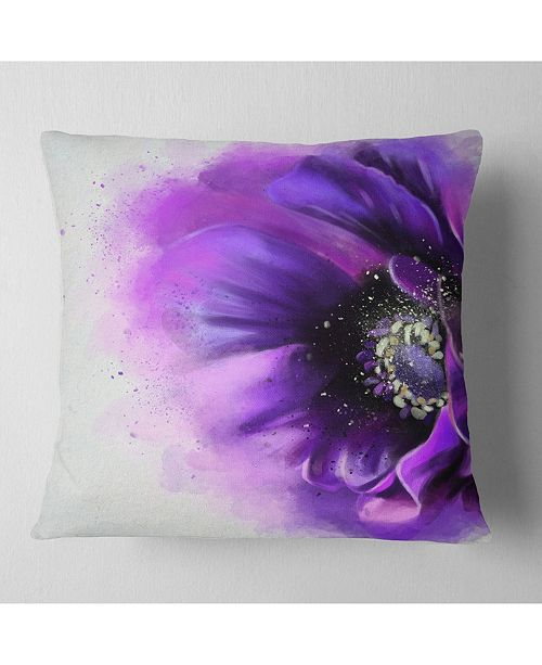 "Design Art Designart 'Purple Stylized Watercolor Poppy' Floral Throw Pillow - 16"" x 16"""
