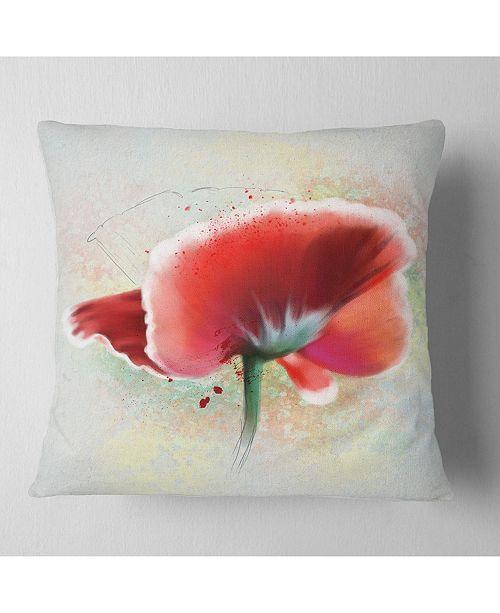 """Design Art Designart 'Beautiful Red Watercolor Poppy' Flowers Throw Pillowwork - 16"""" x 16"""""""