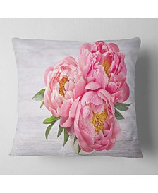 "Designart 'Bunch of Peony Flowers In Vase' Floral Throw Pillow - 16"" x 16"""