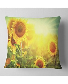 "Designart 'Sunflowers Blooming On The Field' Animal Throw Pillow - 26"" x 26"""