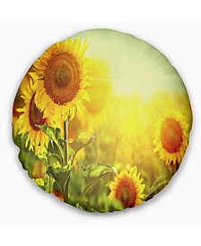 """Designart 'Sunflowers Blooming On The Field' Animal Throw Pillow - 20"""" Round"""