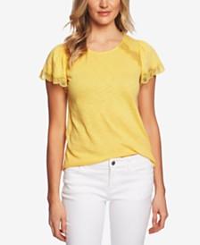 CeCe Lace-Trim Flutter-Sleeve Top