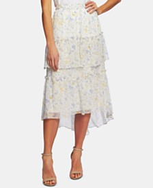 CeCe Provence Floral Tiered Ruffle Skirt