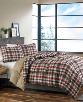 Eddie Bauer Normandy Plaid Comforter Set Black king