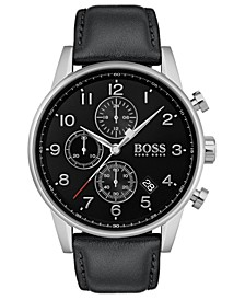 Men's Chronograph Navigator Black Leather Strap Watch 44mm