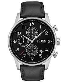 BOSS Men's Chronograph Navigator Black Leather Strap Watch 44mm
