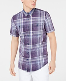 American Rag Men's Short-Sleeve Plaid Shirt, Created for Macy's