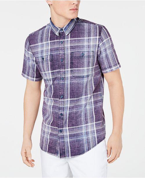 American Rag Men's Short-Sleeve Plaid Shirt, Created for Macy's