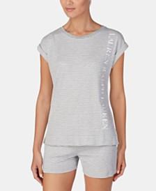 Lauren Ralph Lauren Stripe-Print Logo Short-Sleeve Pajama Top