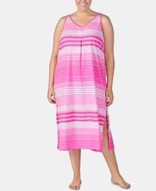 Plus-Size Stripe-Print Knit Cotton Nightgown