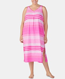 Lauren Ralph Lauren Plus-Size Stripe-Print Knit Cotton Nightgown