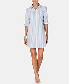 Stripe-Print Notch Collar Sleepshirt