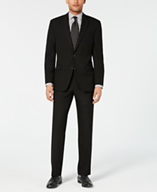 Chaps Men's Classic-Fit Stretch Wrinkle-Resistant Black Solid Suit Separates