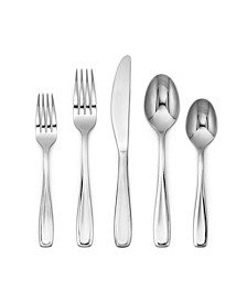 Waylen Mirror 40-Piece Flatware with Rustic Buffet