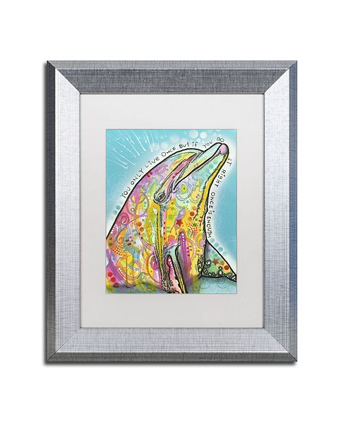 "Trademark Global Dean Russo 'Dolphin' Matted Framed Art - 14"" x 11"" x 0.5"""