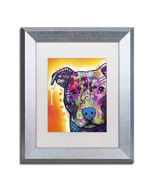 """Trademark Global Dean Russo 'Heart U Pit Bull' Matted Framed Art - 14"""" x 11"""" x 0.5"""""""