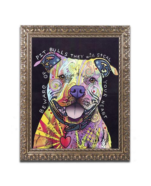 "Trademark Global Dean Russo 'Beware of Pit Bulls' Ornate Framed Art - 20"" x 16"" x 0.5"""