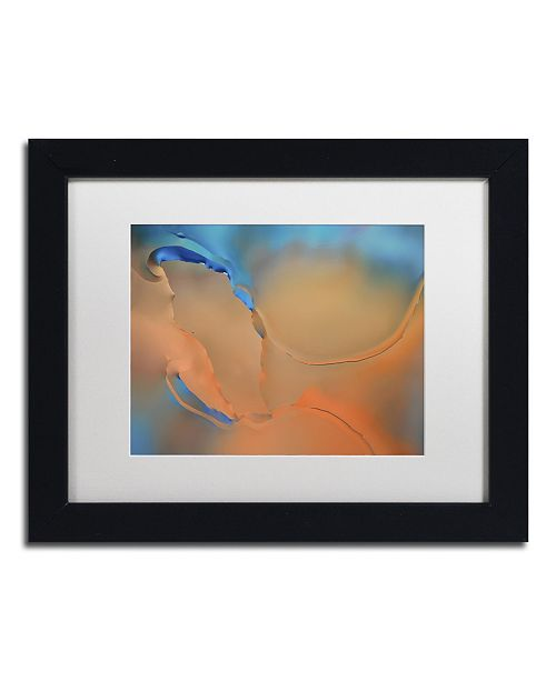 "Trademark Global Cora Niele 'Blue and Orange Flow' Matted Framed Art - 11"" x 14"" x 0.5"""
