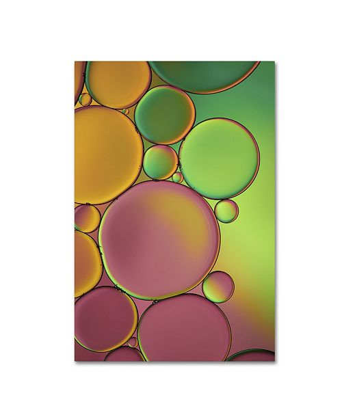 "Trademark Global Cora Niele 'Green and Orange Drops' Canvas Art - 19"" x 12"" x 2"""