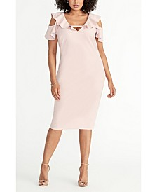 Plus Size Off The Shoulder Ruffle Sleeve Dress