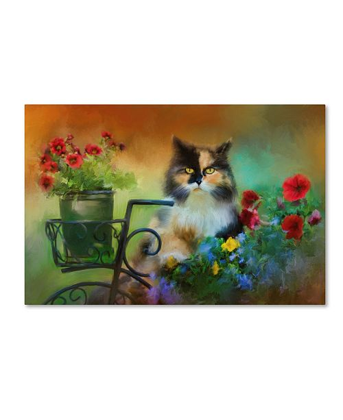 "Trademark Global Jai Johnson 'Calico In The Garden' Canvas Art - 24"" x 16"" x 2"""