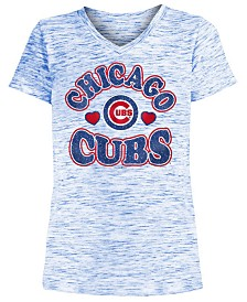 5th & Ocean Big Girls Chicago Cubs Spacedye T-Shirt