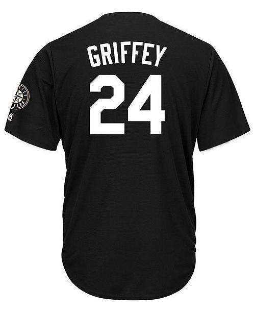 aef834fe555 ... Majestic Men s Ken Griffey Jr. Seattle Mariners Black Tux Replica Cool  Base Jersey ...