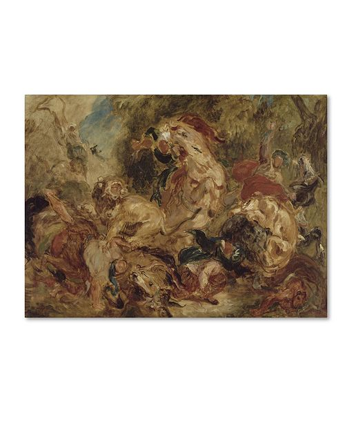 "Trademark Global Delacroix 'The Lion Hunt' Canvas Art - 19"" x 14"" x 2"""