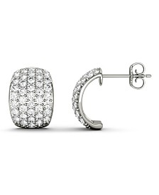 Moissanite J-hoop Earrings (1-3/4 ct. t.w. Diamond Equivalent) in 14k white gold