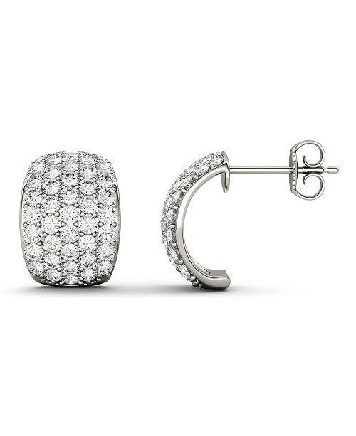 Charles & Colvard Moissanite J-hoop Earrings (1-3/4 ct. t.w. Diamond Equivalent) in 14k white gold