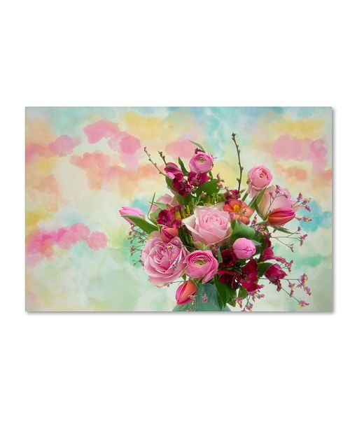 """Trademark Global Cora Niele 'Bouquet And Watercolors' Canvas Art - 47"""" x 30"""" x 2"""""""