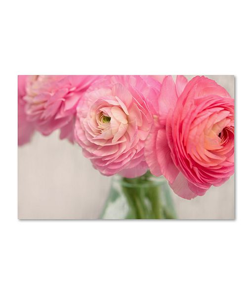 "Trademark Global Cora Niele 'Pink Buttercups In Glass Ii' Canvas Art - 24"" x 16"" x 2"""
