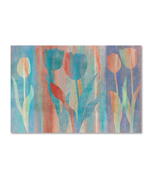 "Trademark Global Cora Niele 'Dancing Tulips Blue Pink' Canvas Art - 24"" x 16"" x 2"""
