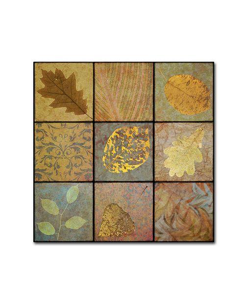 "Trademark Global Cora Niele 'Golden Leaves Ninesquare' Canvas Art - 18"" x 18"" x 2"""