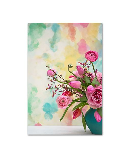 """Trademark Global Cora Niele 'Pink Bouquet In Turqoise Vase' Canvas Art - 24"""" x 16"""" x 2"""""""