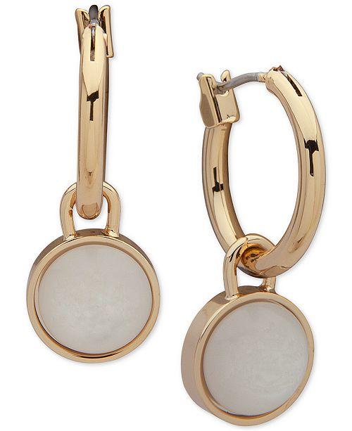"""Lauren Ralph Lauren Gold-Tone White Mother-of-Pearl Medium 1.1"""" Drop Hoop Earrings"""
