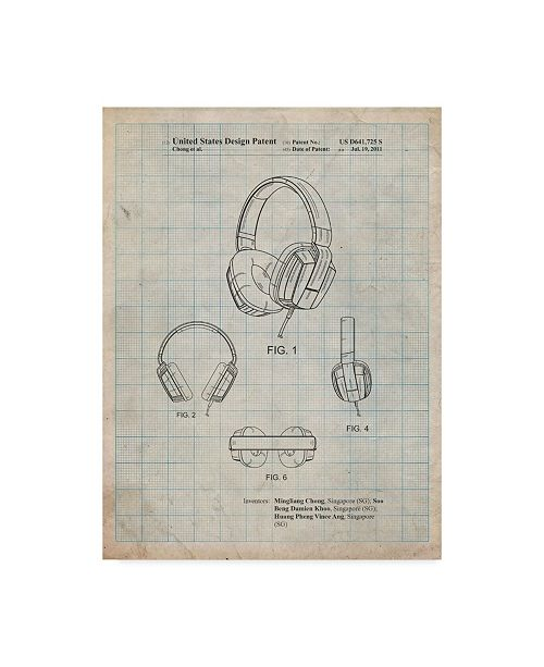 "Trademark Innovations Cole Borders 'Headphones' Canvas Art - 47"" x 35"" x 2"""