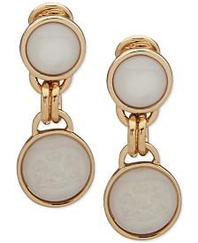 Lauren Ralph Lauren Gold-Tone White Mother-of-Pearl Double Drop Clip-On Earrings