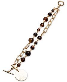 Lauren Ralph Lauren Gold-Tone Tortoise Two-Row Toggle Bracelet