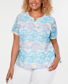 Alfred Dunner Plus Size Catalina Island Fish-Print T-Shirt